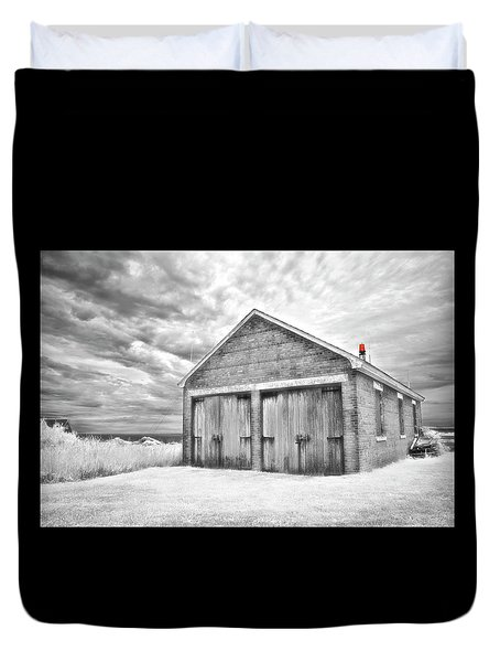 Southeast Light Boathouse- Black And White Duvet Cover