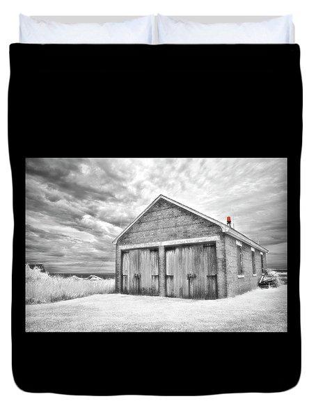 Southeast Light Boathouse- Black And White Duvet Cover