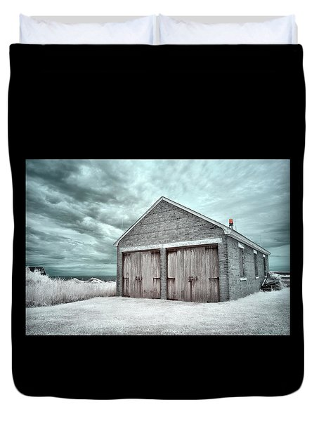 Southeast Light Boathouse Duvet Cover