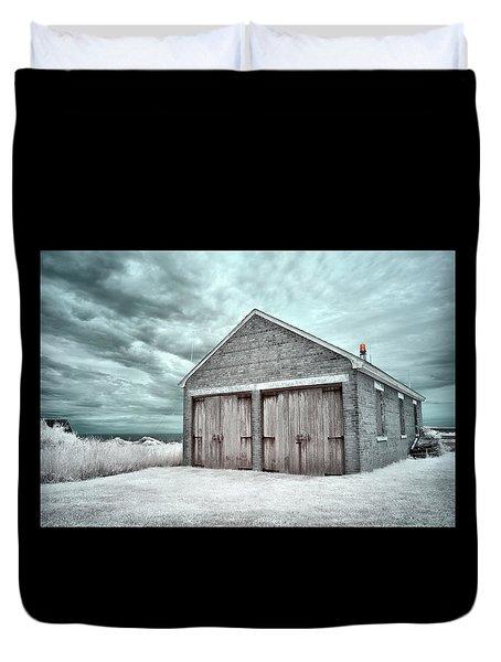Southeast Light Boathouse Duvet Cover