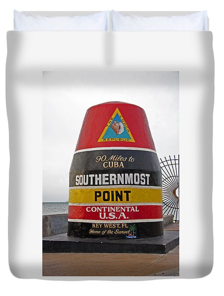 Southermost Point Of U.s.a. Buoy Marker Duvet Cover by John Stephens