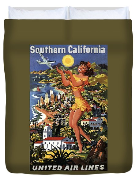 Southern California Vintage Travel 1950's Duvet Cover