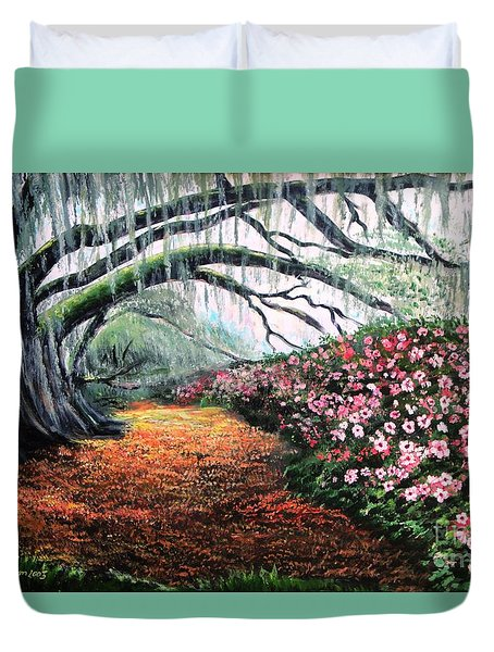 Southern Charm Oak And Azalea Duvet Cover by Patricia L Davidson