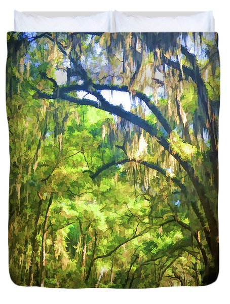 Duvet Cover featuring the photograph Southern Drive Through Spanish Moss  by Kerri Farley