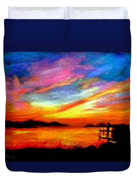 Duvet Cover featuring the painting Southern Sunset by Gail Kirtz