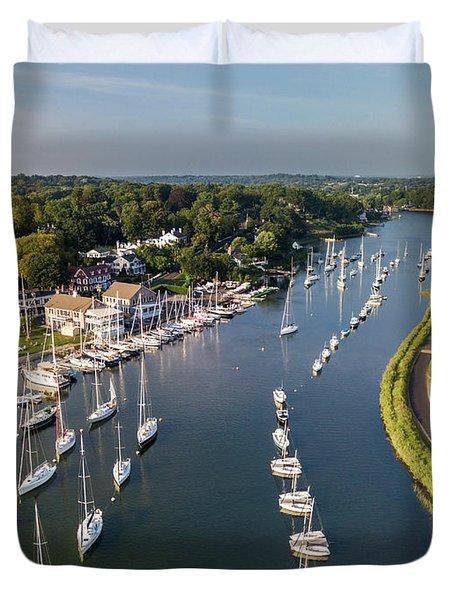 Southport Harbor Aerial Duvet Cover