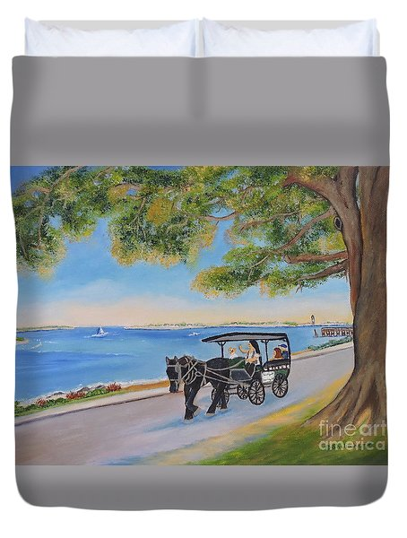 Duvet Cover featuring the painting Southport Stroll by Shelia Kempf