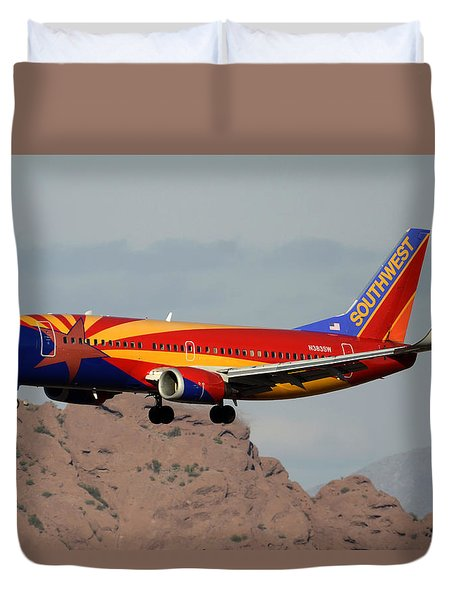 Southwest Boeing 737-3h4 N383sw Arizona Phoenix Sky Harbor December 20 2015  Duvet Cover by Brian Lockett