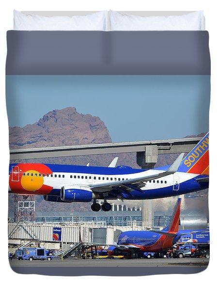 Southwest Boeing 737-7h4 N230wn Colorado One Phoenix Sky Harbor January 24 2016 Duvet Cover by Brian Lockett