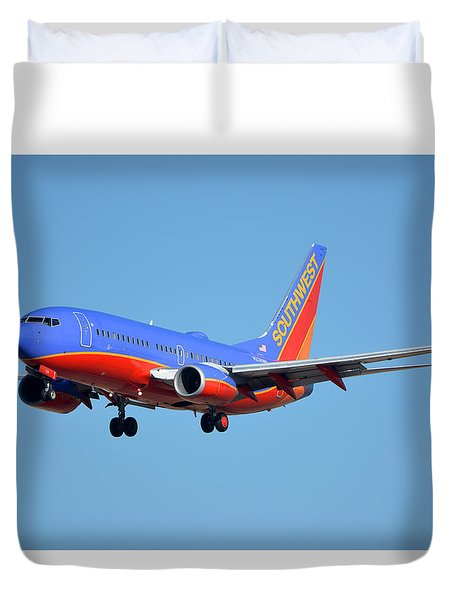 Southwest Boeing 737-7h4 N238wn Phoenix Sky Harbor January 17 2016 Duvet Cover by Brian Lockett