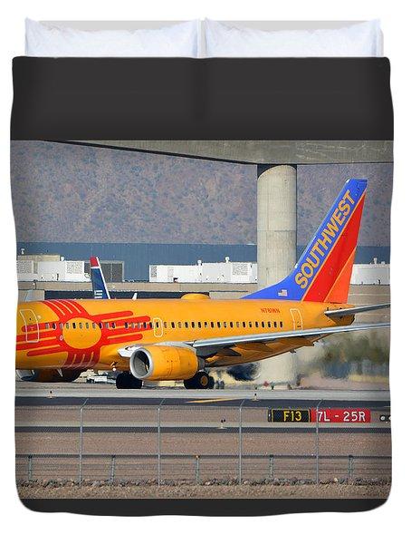 Southwest Boeing 737-7h4 N781wn New Mexico Phoenix Sky Harbor January 17 2016 Duvet Cover by Brian Lockett