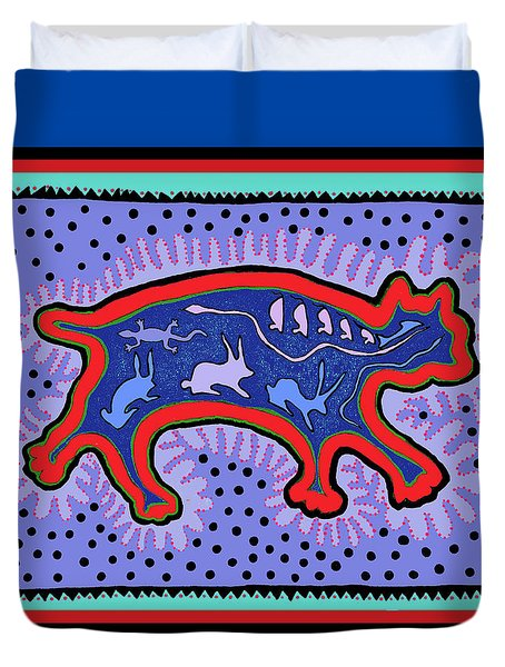 Duvet Cover featuring the digital art Southwest Desert Feral Cat by Vagabond Folk Art - Virginia Vivier