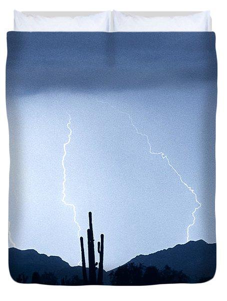 Southwest Desert Lightning Blues Duvet Cover by James BO  Insogna