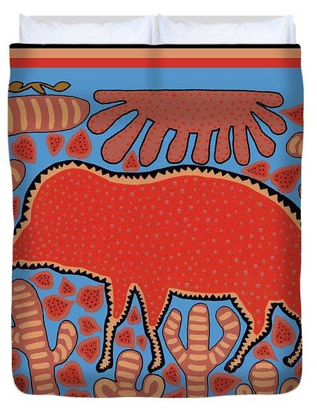 Duvet Cover featuring the digital art Southwest Desert Wart Hog by Vagabond Folk Art - Virginia Vivier