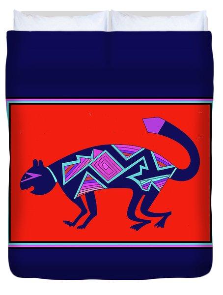 Duvet Cover featuring the digital art Southwest Mimbres Feline by Vagabond Folk Art - Virginia Vivier