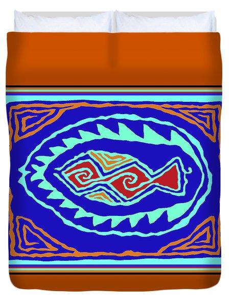 Duvet Cover featuring the digital art Southwest Pescado by Vagabond Folk Art - Virginia Vivier