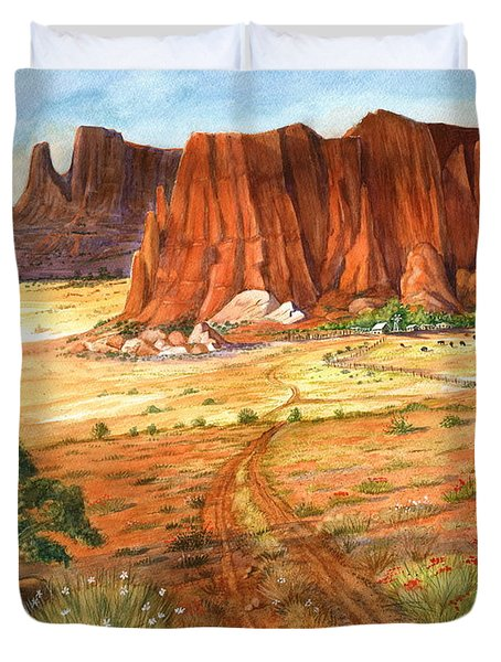 Duvet Cover featuring the painting Southwest Red Rock Ranch by Marilyn Smith