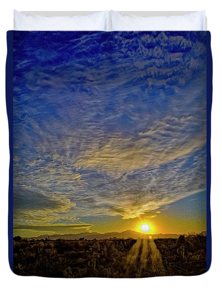 Duvet Cover featuring the digital art Southwest Sunset Op40 by Mark Myhaver