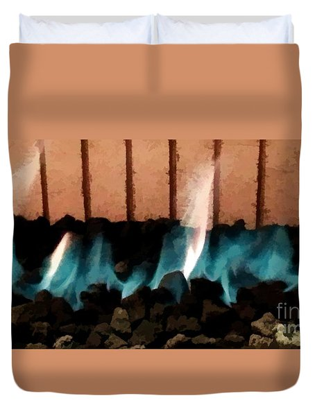 Duvet Cover featuring the photograph Southwest Terracotta Turquoise Fire by Renee Trenholm