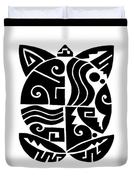 Duvet Cover featuring the digital art Southwest Tribal Tortuga by Vagabond Folk Art - Virginia Vivier