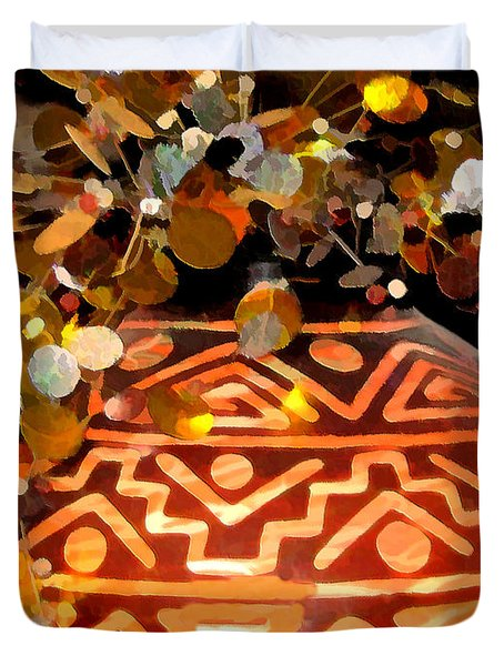 Duvet Cover featuring the digital art Southwest Vase Art by Gary Baird
