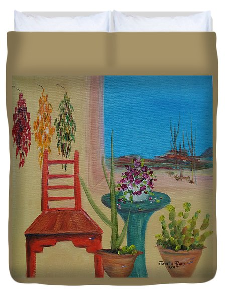 Duvet Cover featuring the painting Southwestern 6 by Judith Rhue