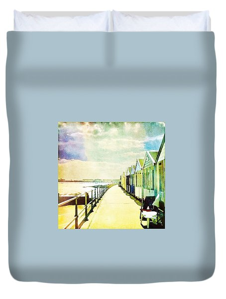 Duvet Cover featuring the photograph Southwold Beach Huts by Anne Kotan