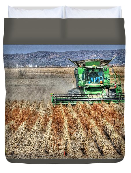 Soybean Harvest Fremont County Iowa Duvet Cover