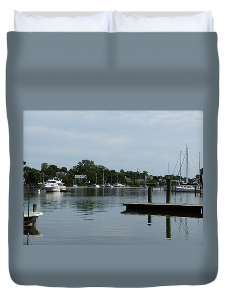 Spa Creek From The Park  Duvet Cover by Donald C Morgan