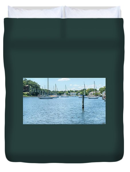 Duvet Cover featuring the photograph Spa Creek In Blue by Charles Kraus