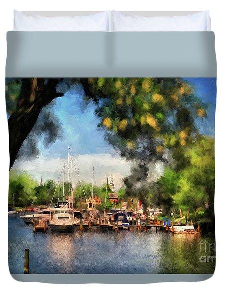 Spa Creek Duvet Cover by Lois Bryan