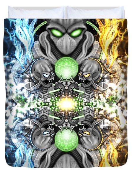 Space Alien Time Machine Fantasy Art Duvet Cover
