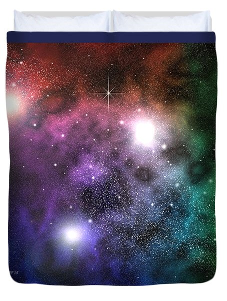 Duvet Cover featuring the digital art Space Clouds by Phil Perkins