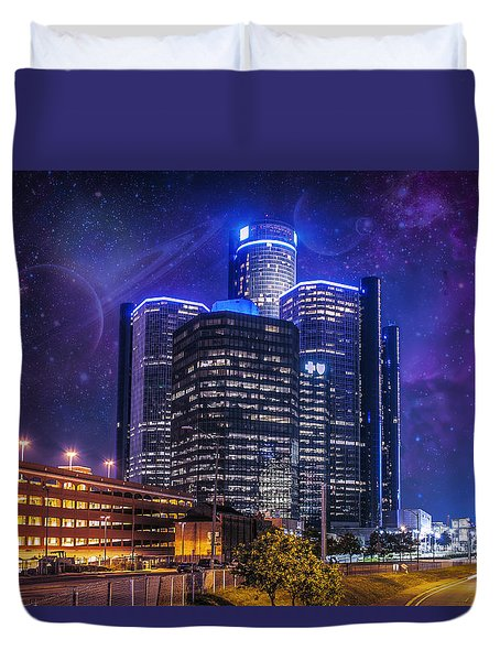 Duvet Cover featuring the photograph Space Detroit by Nicholas  Grunas