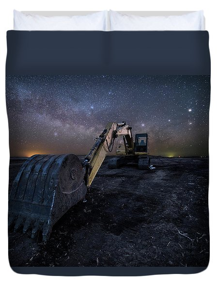 Duvet Cover featuring the photograph Space Excavator  by Aaron J Groen