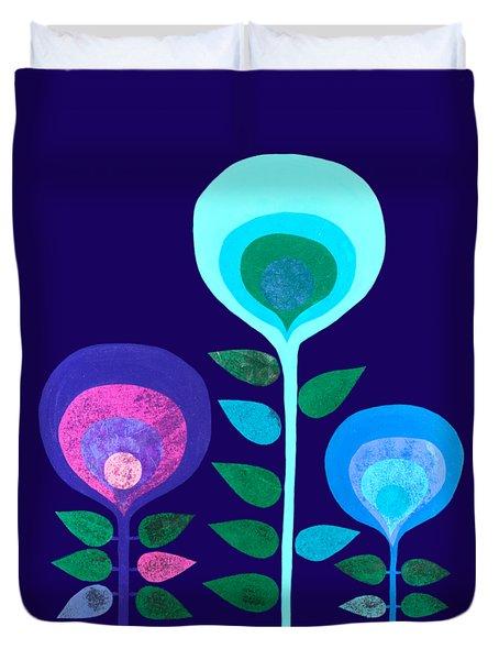 Space Flowers Duvet Cover