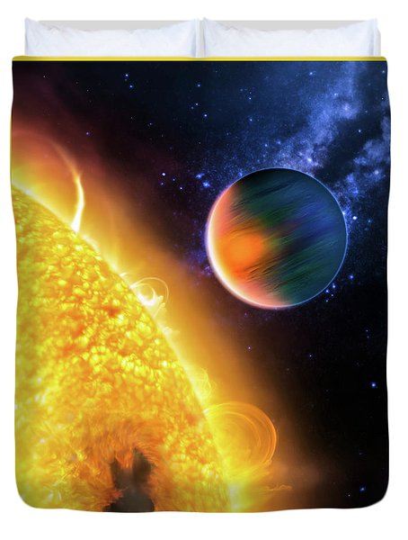 Duvet Cover featuring the photograph Space Image Extrasolar Planet Yellow Orange Blue by Matthias Hauser