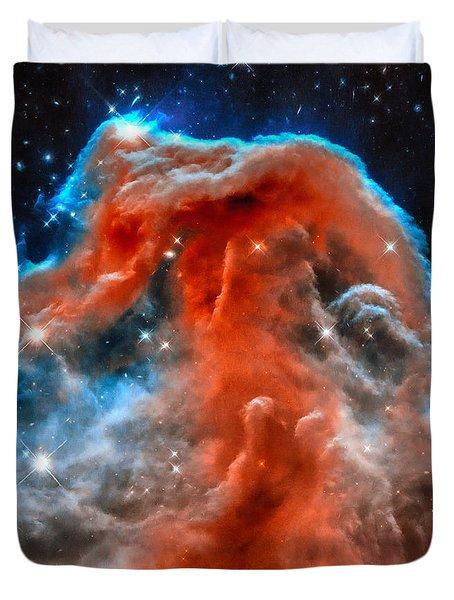 Space Image Horsehead Nebula Orange Red Blue Black Duvet Cover