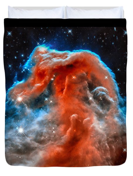 Space Image Horsehead Nebula Orange Red Blue Black Duvet Cover