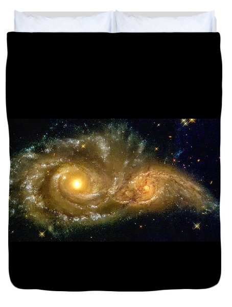 Space Image Spiral Galaxy Encounter Duvet Cover