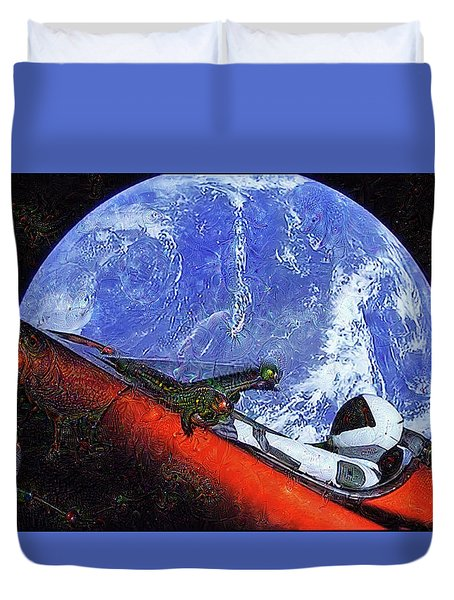 Space Meeting At Tesla Duvet Cover
