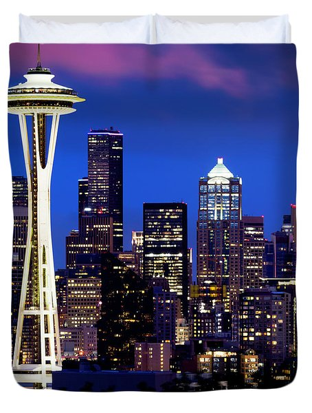 Space Needle At Night  Duvet Cover