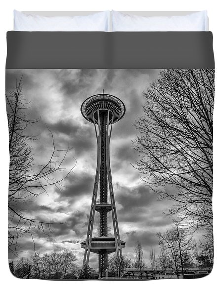 Space Needle Bw Duvet Cover