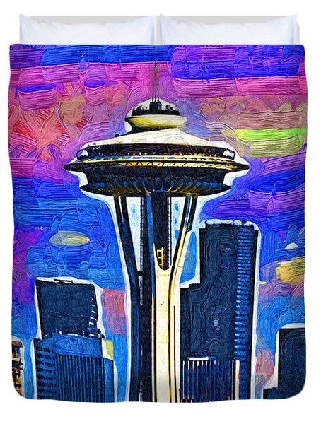 Space Needle Colorful Sky Duvet Cover