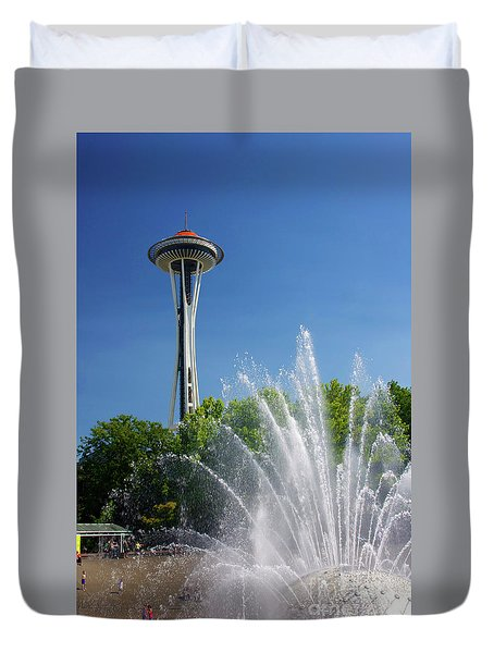 Space Needle In Seattle Duvet Cover