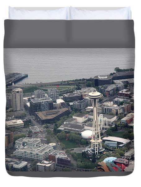 Duvet Cover featuring the photograph Space Needle by Yumi Johnson