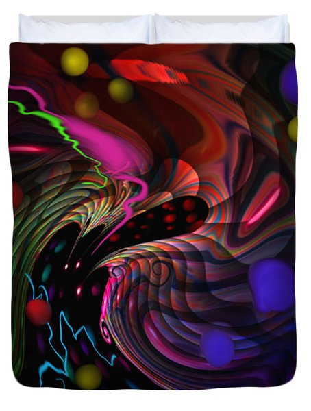 Duvet Cover featuring the painting Space Rocks by Kevin Caudill