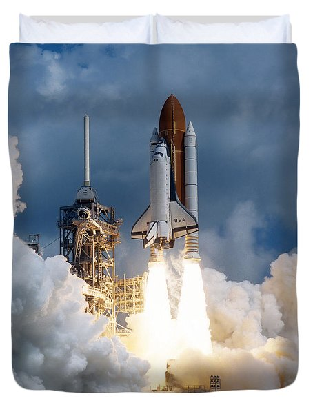 Duvet Cover featuring the photograph Space Shuttle Launching by Stocktrek Images