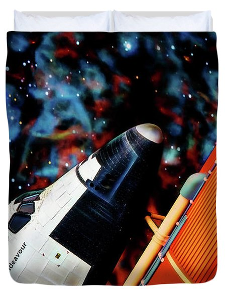 Duvet Cover featuring the digital art Space Shuttle by Ray Shiu