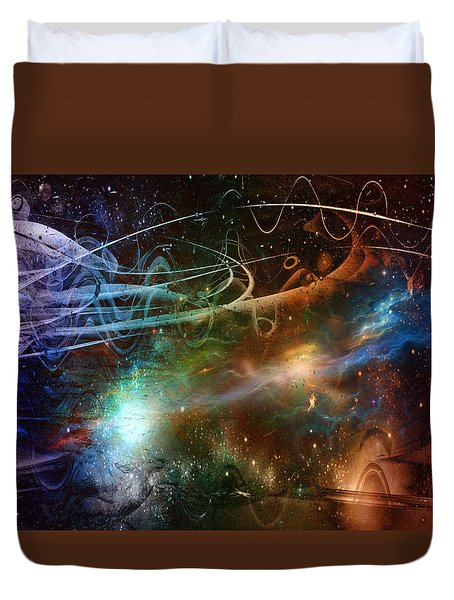 Duvet Cover featuring the digital art Space Time Continuum by Linda Sannuti